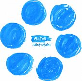 Circle blue textured marker vector color stains poster
