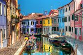 Colorful houses and canal on Burano island, near Venice, Italy. Sunny day. poster