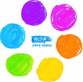 Rainbow colors detailed marker stains vector set poster