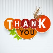Thank You sticker, labels or tags with maple leaves and wheat on vintage grey background.  poster