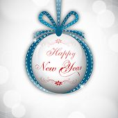 Hanging Xmas ball decorated with ribbon and stylish text on shiny grey background for Happy New Year 2014 and Merry Christmas celebration background.  poster