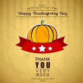 Vintage Happy Thanks giving background with pumpkin.  poster
