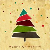 Vintage Merry Christmas background with colorful Xmas tree on grungy background.  poster