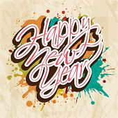 Happy New Year 2014 celebration poster, banner or flyer design on grungy colorful vintage background.  poster
