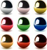 set of high detailed vector chrome balls poster