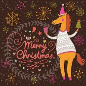Bright Merry Christmas card with 2014 symbol - cartoon funny horse in sweater in vector poster