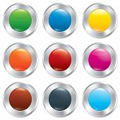 Metallic buttons template set. Vector round stickers. Realistic icons. Isolated on white background. Colorful templates for app. Eps10. poster