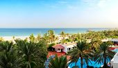 Panorama of the beach at luxury hotel Ajman UAE poster
