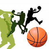 Basketball players on white background vector illustration poster