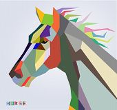 Horse head symbol of New Year 2014 trendy style geometric vector poster