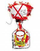 bottle of rat poison on white background , vector art and illustration poster