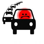 driver rage in long line of traffic illustration poster