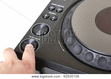 Finger On Button Of Dj Cd Player