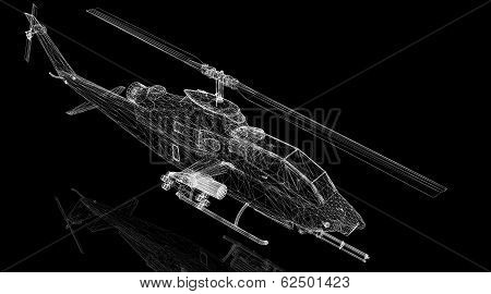 military helicopter 3D model body structure wire model poster