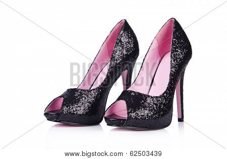 Black woman shoes isolated on white