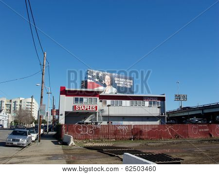 Staples Office Supplies Store And Billboard Above It Saying