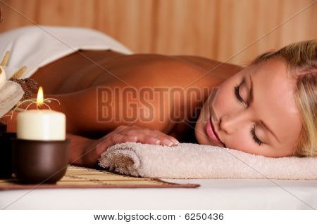 Dayspa For  Beauty Female lying in the spa salon