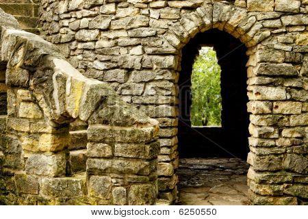 Stone Castle Stairway, Doorway and Window