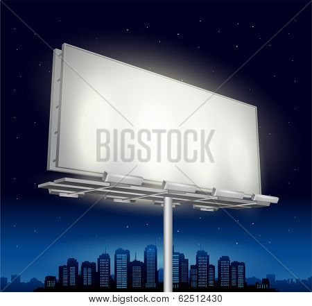highway ad billboard roadside with cityscape in background
