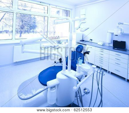 Dental instruments and tools in a dentist office