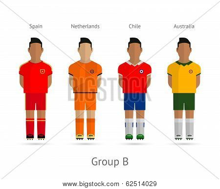 Football teams. Group B - Spain, Netherlands, Chile, Australia