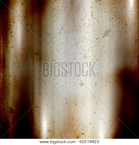 Detailed rusty background with a brushed metal effect and scratches and dints
