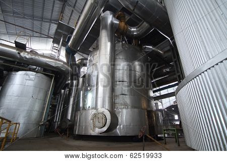 vacuum pans evaporator equipment in a sugar mill