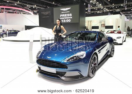 Bangkok - March 25 : Aston Martin Vanquish Coupe Car With Unidentified Model On Display At The 35Th