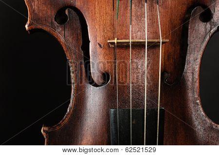 Closeup Of Violin Instrument. Classical Music Art