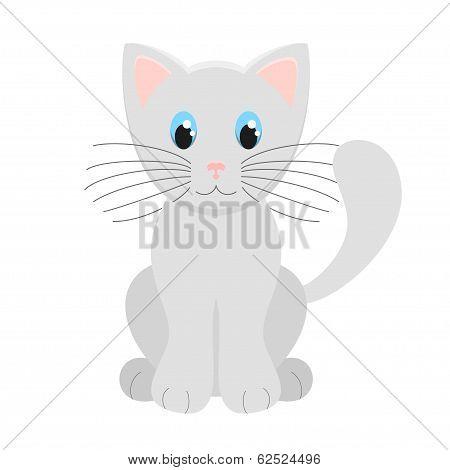 Cute Light Grey Kitten Vector Illustration On White Background