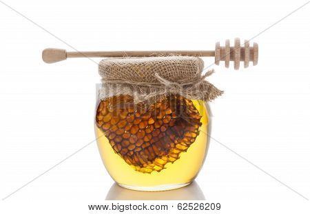 Honey In Glass On White.