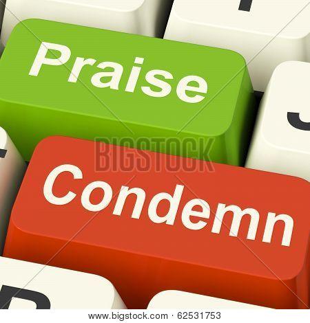 Condemn Praise Keys Means Appreciate Or Blame