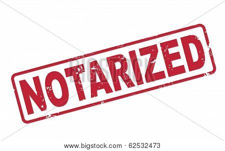 Stamp Notarized With Red Text On White