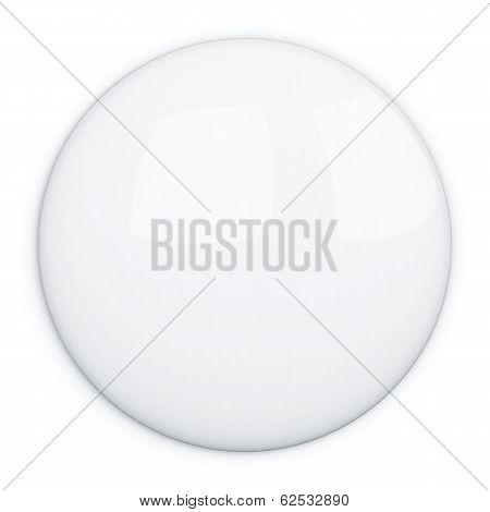 White blank badge button, 3d