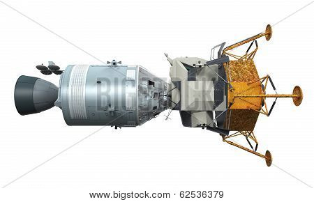 Apollo Module Docking isolated on white background. 3D render poster