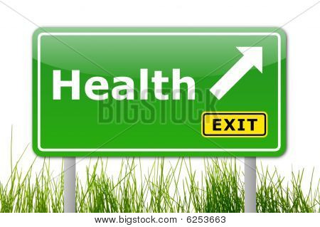 health concept with road sign showing healthy lifestyle poster