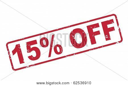 Stamp 15 Percent Off With Red Text On White