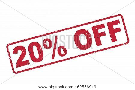 Stamp 20 Percent Off With Red Text On White