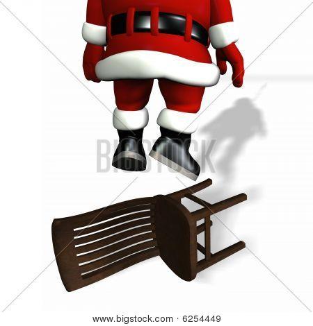 Santa Hanging From Lights