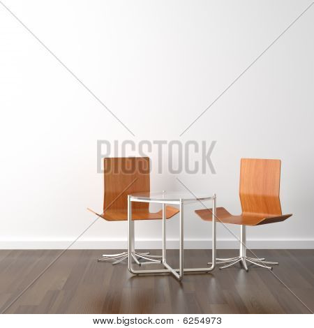 Two Wooden Chairs On White