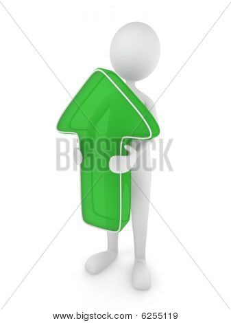 3D man holding a green up arrow