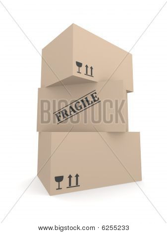 Stack of cardborad fragile boxes