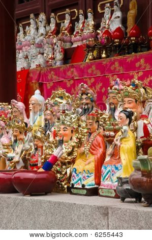 Multiple Colourful Oriental Gods Statues  In Chinese Temple.