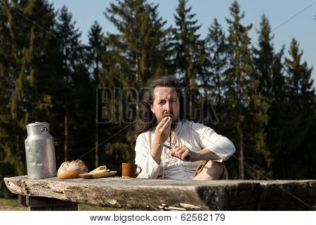 Rustically Man Making A Picnic In The Nature