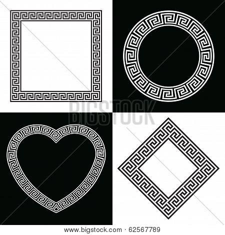 Four Greek Key Frame Shapes