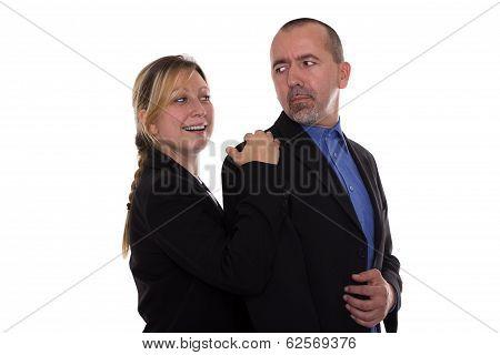 Woman Touching Man