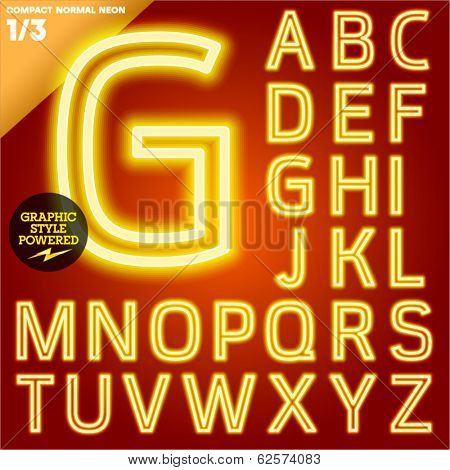 Vector illustration of abstract neon tube alphabet for light board. Yellow Compact normal