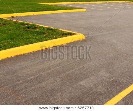 Parking Lot Yellow Striping Grass