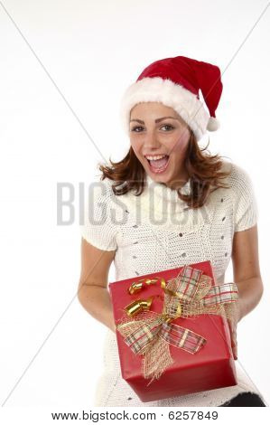 Christmas Present Joyful Woman