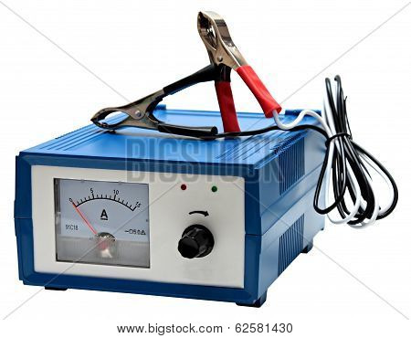 Car battery charger isolated on white